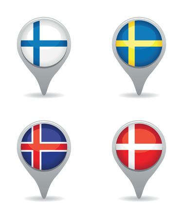 flag pin: scandinavian flag pointers Illustration