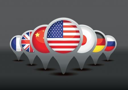 mapa china: Conjunto de punteros de la bandera Vectores