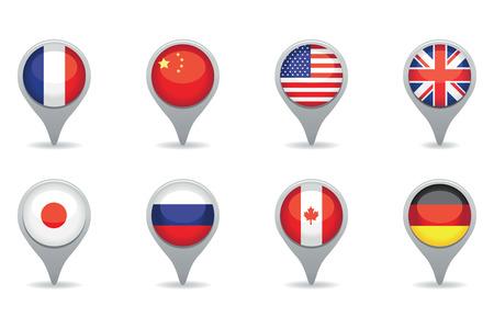un ensemble de pointeurs de drapeau