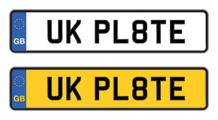 license plate: uk car registration Illustration