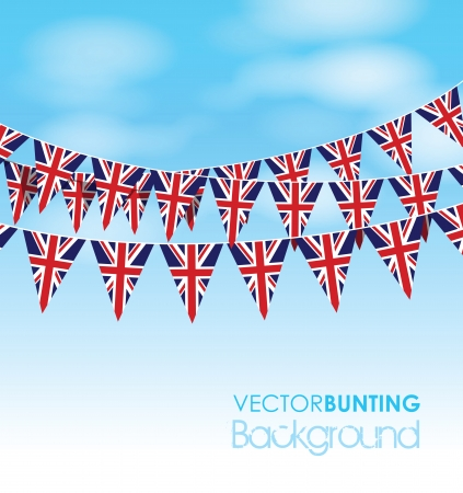 uk bunting on a sky  Vector