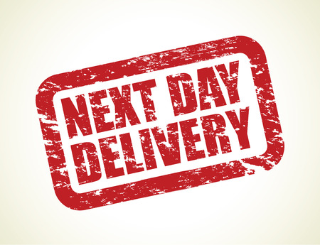 a red next day delivery stamp Vector