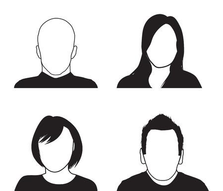 een set van vier mensen silhouetten