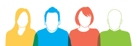 a set of four people silhouettes Vector