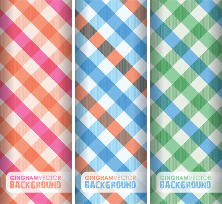 white fabric texture: multicoloured gingham background