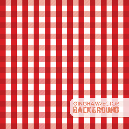 white cloth: red gingham background