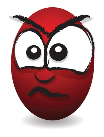 cartoon angry egg face Vector