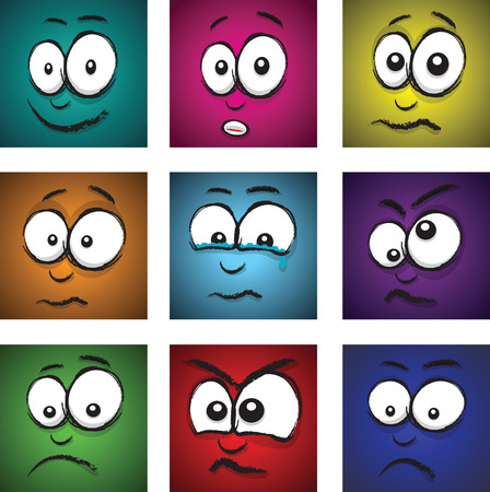 cartoon coloured faces Vector