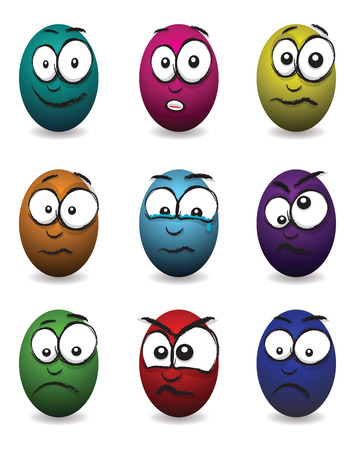 cartoon coloured egg faces Vector