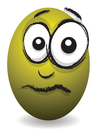 cartoon yellow upset egg face Vector