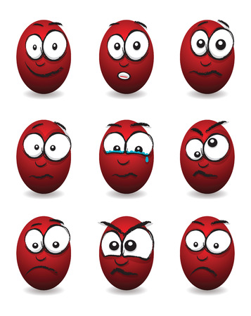 cartoon red egg faces Vector