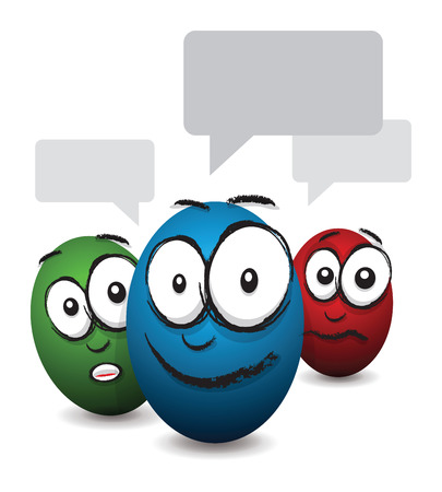 cartoon coloured egg face talking Vector