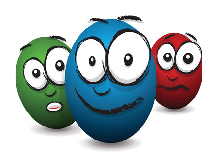 cartoon coloured egg face Vector