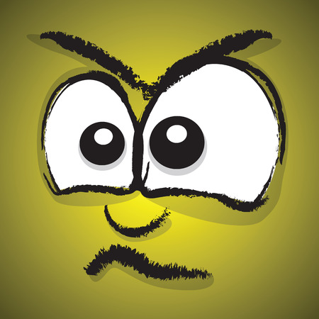 worrying: angry cartoon face Illustration