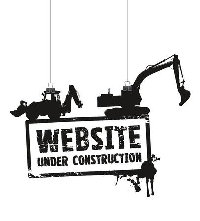 건설 기호 아래 웹 사이트 일러스트