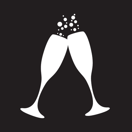 clink: black and white champagne glasses with bubbles Illustration