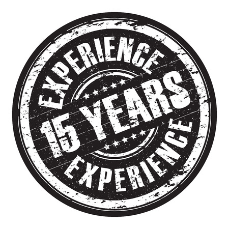 15: a hanging 15 years experience stamp