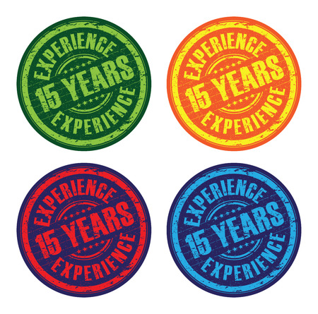 15: a set of 15 years experience stamps