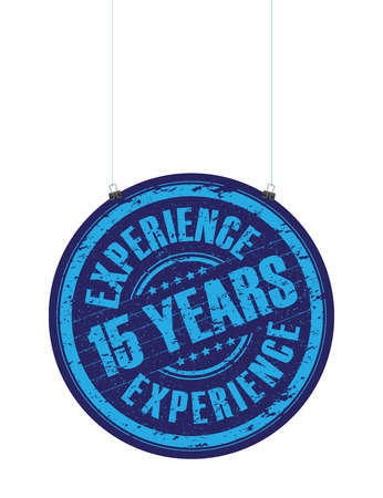 a hanging 15 years experience stamp Vector