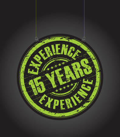 lime green background: a hanging 15 years experience stamp