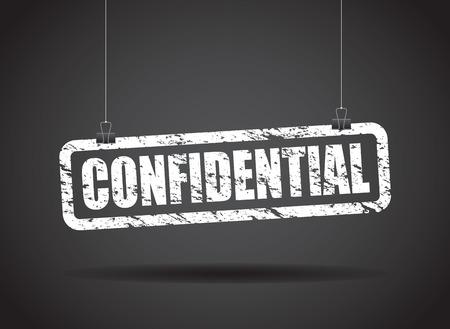 confidential: confidential hanging sign
