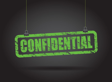 confidential hanging sign Vector