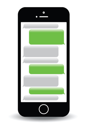 phoning: a green mobile phone text messaging screen
