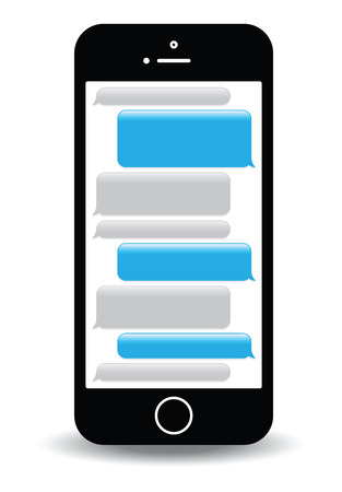 phone receiver: a blue mobile phone text messaging screen