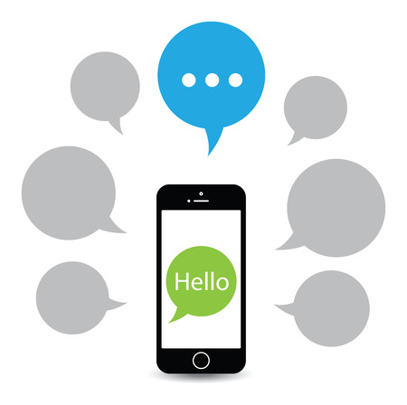 cell phone icon: saying hello from a mobile
