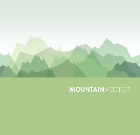 green banner: a green overlapping green mountain background image Illustration