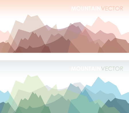 a set of two overlapping coloured mountain backgrounds Vector