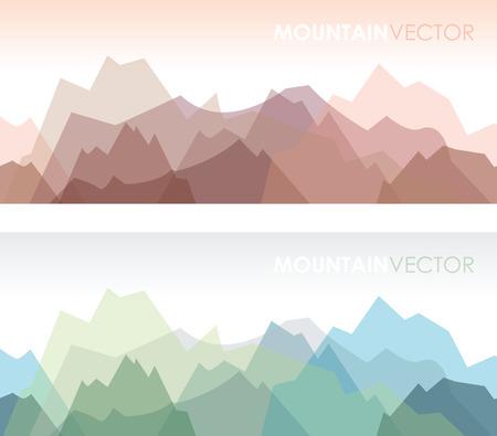 een set van twee overlappende gekleurde berg achtergronden Stock Illustratie