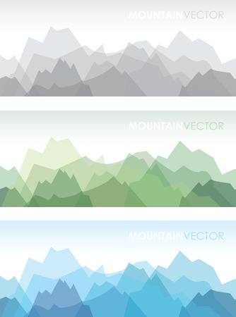 a set of three overlapping coloured mountain backgrounds Illustration