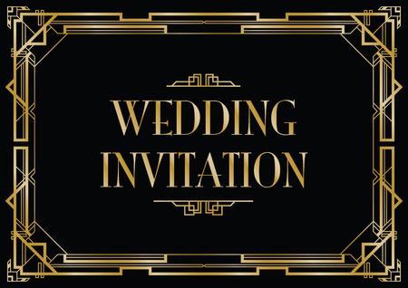 gatsby wedding invite Illustration