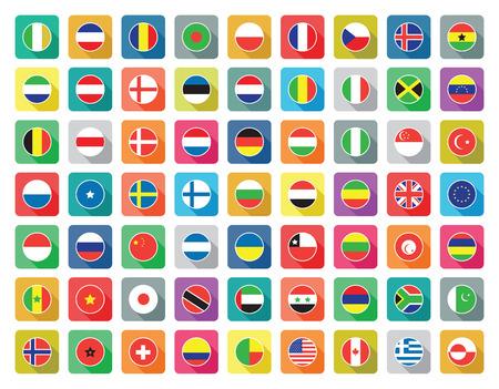 플랫: 세계 플래그 아이콘을 설정 일러스트