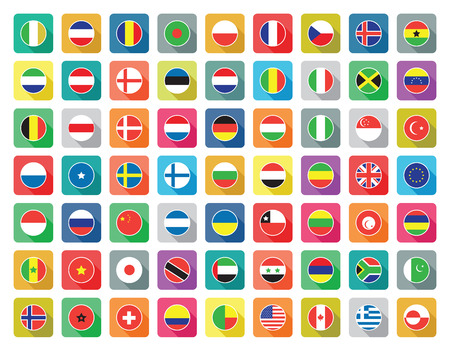 wereld vlag icon set Stock Illustratie
