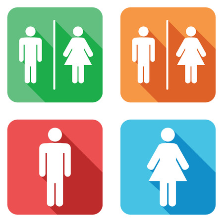 bathroom sign: men and women toilet signs Illustration