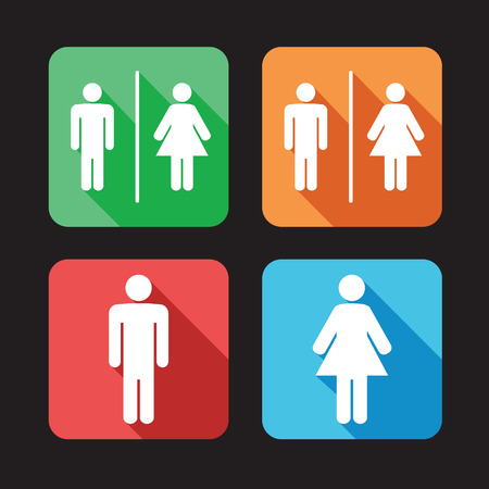 public restroom: men and women toilet signs Illustration