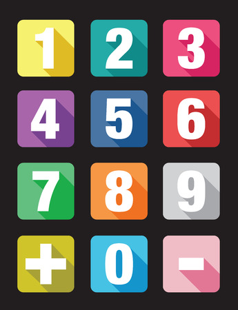 numeracy: number flat icon sets