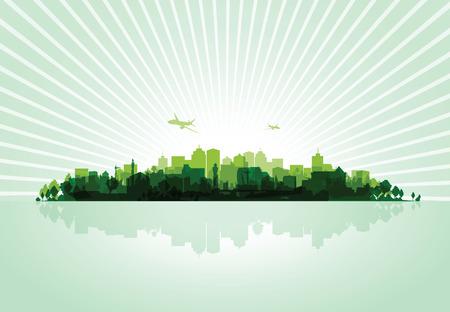 overprint: green cityscape overprint background