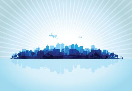 cityscape silhouette: blue cityscape overprint background