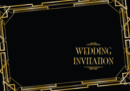 gold decorations: art deco gatsby style background Illustration