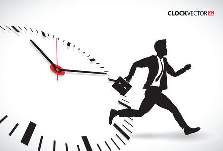 businessman jumping: business man beating the clock