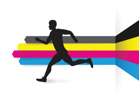 cmyk abstract: cmyk line arrow background with a running man