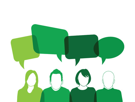 green people speaking Illustration