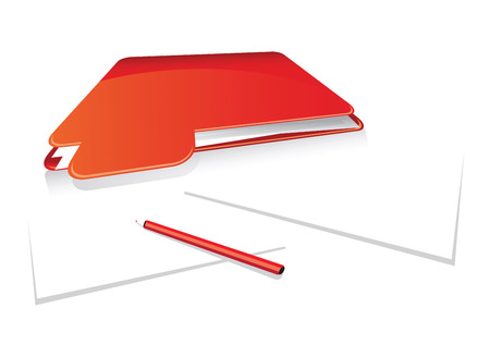 red folder with paper and pen Vector