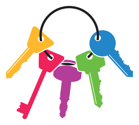 colourful bunch of keys Vector