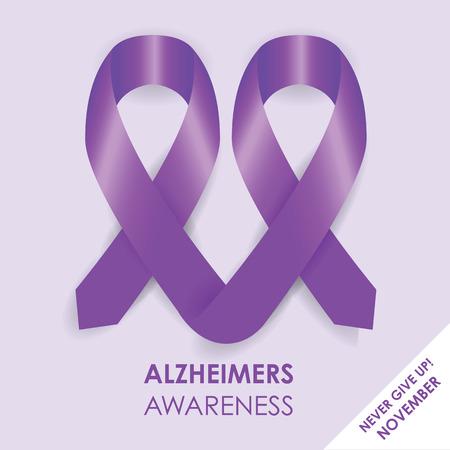 purple ribbon: alzheimers ribbon Illustration