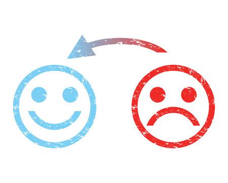 caras de emociones: triste cara a una cara feliz