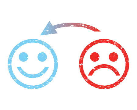 caras tristes: triste cara a una cara feliz
